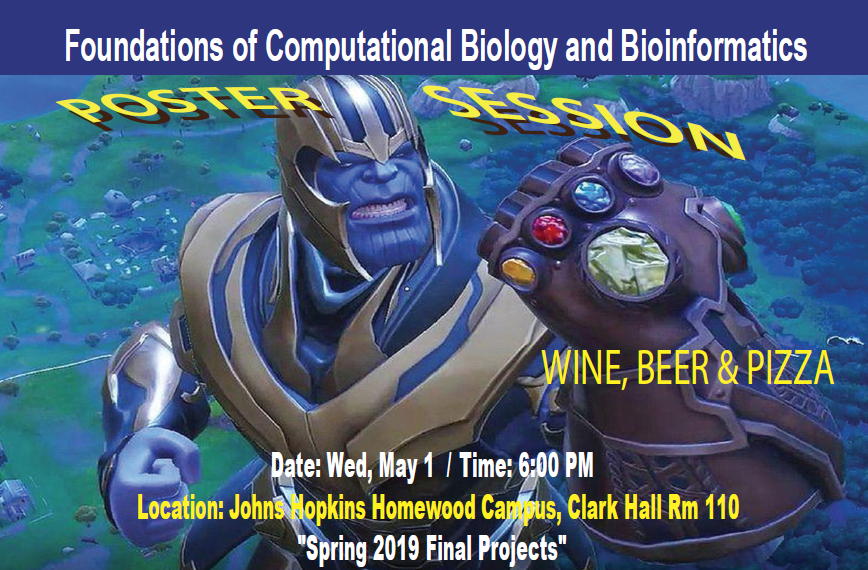 Foundations of Computational Biology and Bioinformatics II Poster Session 2019 @ 110 Clark Hall (Homewood Campus)
