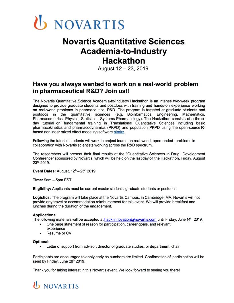 Novartis Quantitative Sciences Academia-to-Industry Hackathon @ Novartis Campus