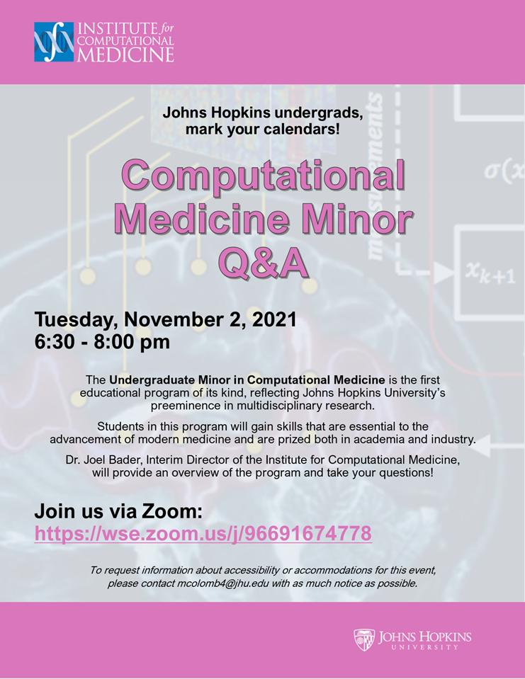 Computational Medicine Minor Q&A Session @ Zoom